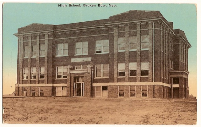 old vintage postcard showing the high school broken bow