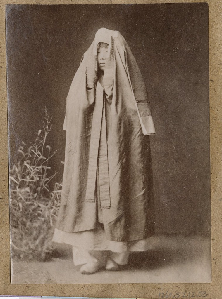 korean woman wrapped in cloak collection willard