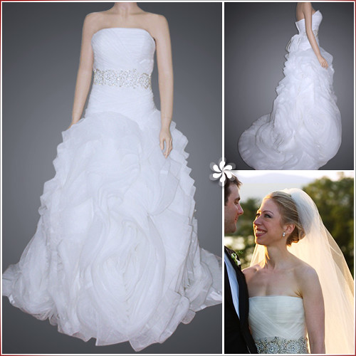 Chelsea Clinton Wedding Gown: Chelsea Clinton Ball Gown Strapless Cathedral Train Organz