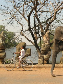 A kid bikes with an elephant close behind at the South Gate - Angkor, Cambodia | by lboogie