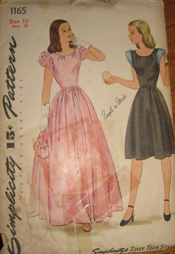 Vintage 1940s Evening Dress Pattern Choose from Long or Short Simplicity 1165 Size 10 Bust 28 | by GBVintageSupplies