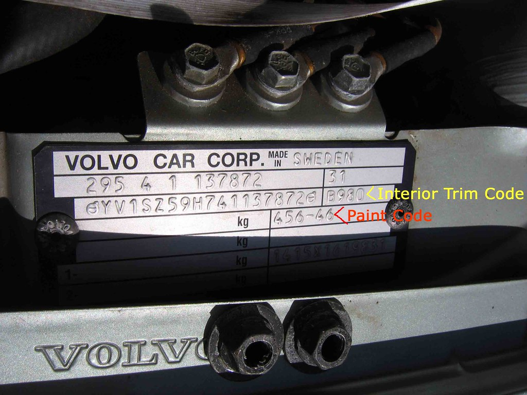 Number Plate Country Codes >> '04 Volvo XC70 Paint and Trim Code Locations | '04 Volvo XC7… | Flickr