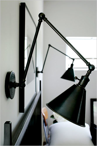 Boston functional library two arm wall lights from circa l for Wall mounted bed light