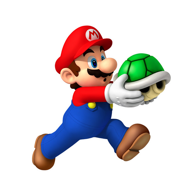 Mario carrying a green shell