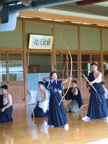 Masumi in grading for Renshi in Kyudo | by Masa Sakano