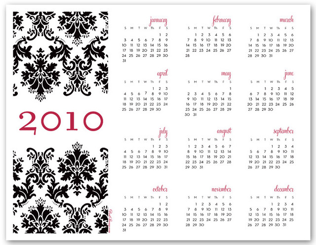 2010 Printable Calendar: Black Damask Design | HQ PDF: s3 ...