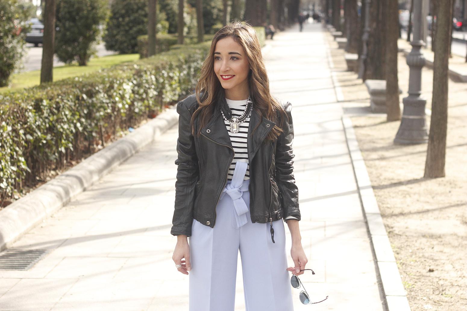 Light Blue Pallazzo pants t-shirt stripes black heels biker jacket dior so real sunglasses outfit style fashion12