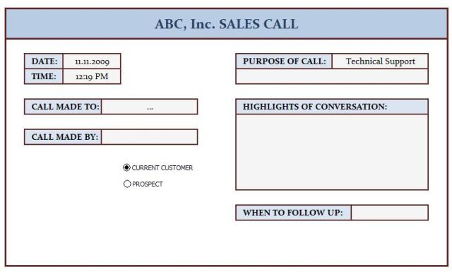 Sales Call Log  This Template Is Prepared For Keeping Track  Flickr