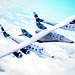 In Air Banking. Conceptual image of VMS Eve and SpaceShipTwo in flight.