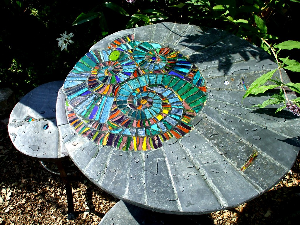 Ammonite Garden Patio Set 75 Cm Dia X 70 Cm Table And