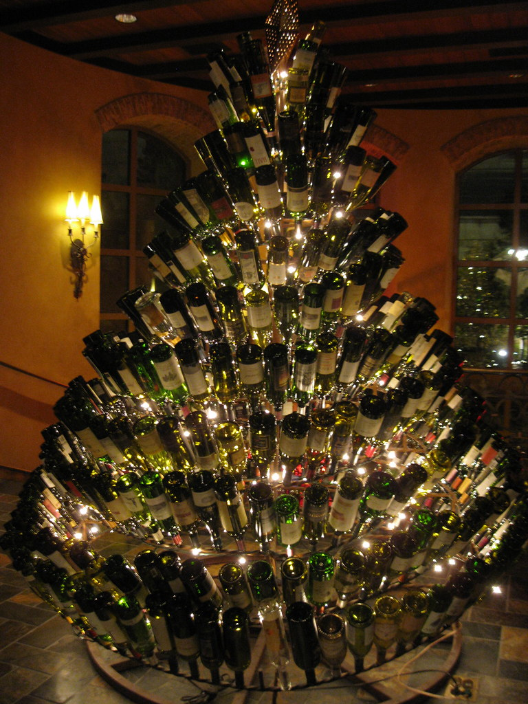 wine bottle christmas tree at gaylord texan christmas 2009 by scottomonaco