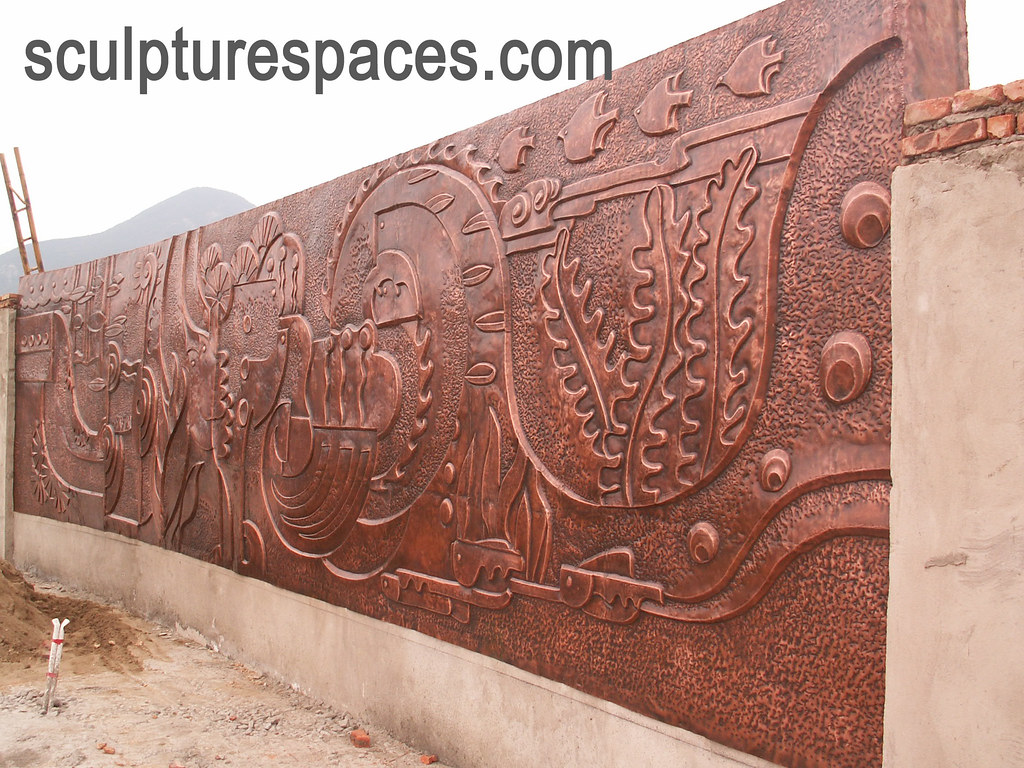 Copper wall relief bronze door balustra