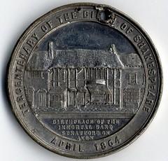 1864 Shakespeare Tercentenary Medal reverse