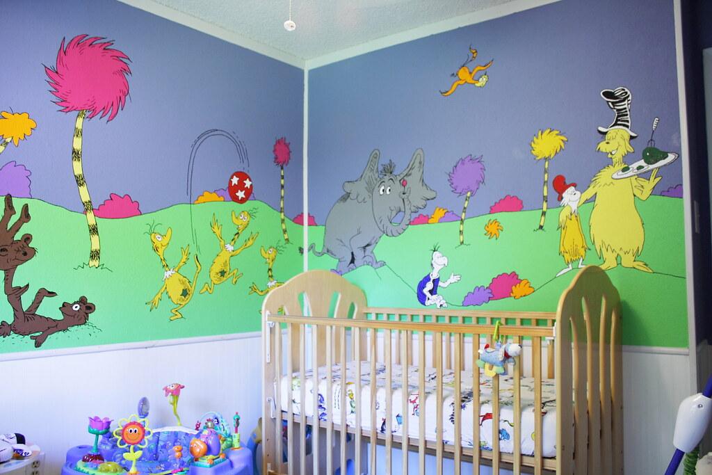 Dr seuss nursery here 39 s a shot of the southeast corner for Dr seuss mural nursery