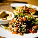 Tabbouleh, Hummus, Salad and Bread