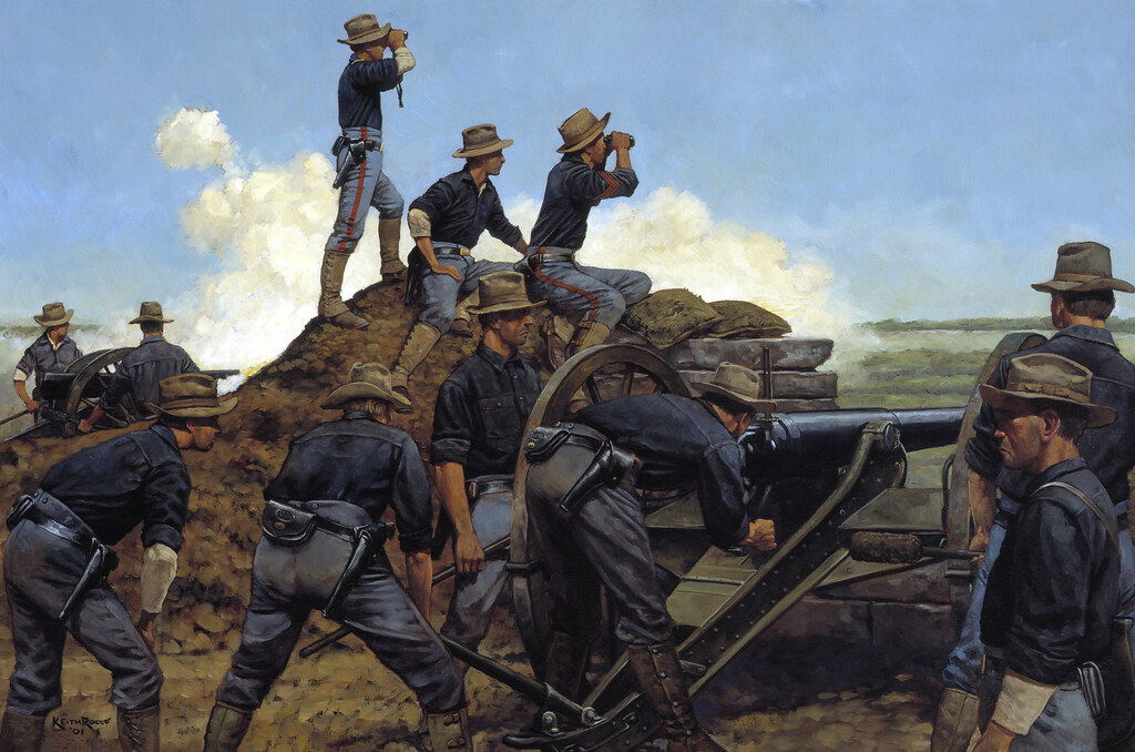 The Utah Light Artillery, painting by Keith Rocco -- August 13, 1898, Manila, Philippine Islands August 13, 1898, Manila, Philippine Islands  On April 6, 1898, Congress declared war on Spain and President William McKinley organized United States forces for the Splendid Little War. Of the tens of thousands of regular, volunteer and National Guard (Militia) troops who served, 343 Utah Guardsmen saw service in the Philippine Islands. On May 1st, after the Navys stunning victory at Manila Bay, McKinley authorized an invasion force to capture the Philippine archipelago from Spain. Organized into two batteries, the Utah Light Artillery mustered into federal service on May 9, 1898 at Fort Douglas, Utah. Shortly thereafter, at Camp Merritt near San Francisco, the Utah Artillery became part of Brig. Gen. Francis V. Greenes brigade of the U.S. VIII Corps under the command of Maj. Gen. Wesley Merritt.  Leaving San Francisco, Greenes brigade first raised the U.S. flag in Guam and then arrived on the island of Luzon on July 17, 1898. In the Philippines, 15,000 Americans not only faced 13,000 Spanish soldiers but a second army of some 12,000 Philippine rebels under Emilo Aguinaldo. The rebels had been fighting for national independence from Spain and hoping for American assistance. When Merritt ordered to keep the rebels out of the fight against Spain, the rebels became a second possible enemy.  On August 13th, the Utah Artillery supported Greenes brigade as it attacked towards the old city of Manila. The battle was predetermined to be a limited one in order to preserve Spanish honor and minimize casualties. The rebels, however, made this impossible. As American forces moved quickly against the Spanish defenses, a race to the old city center developed between the Americans and Aguinaldos rebels. The Utah batteries fired and re-deployed several times providing close and accurate support for the infantry attacks.  The Utah Light Artillery continued in federal service for another year and fought in the Philippine Insurrection until returning to Utah in August 1899. Todays 145th Field Artillery, Utah Army National Guard, carries on the history and traditions of the Utah Light Artillery.