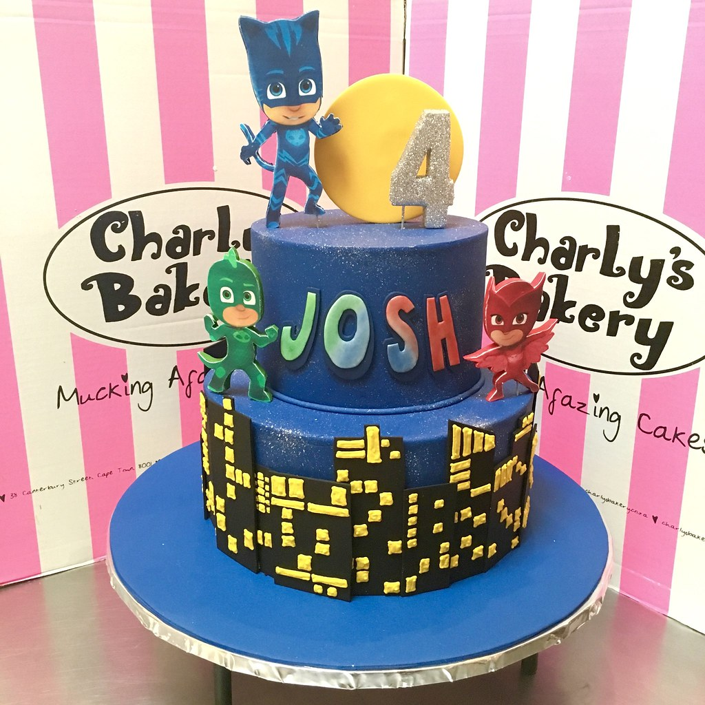 ... 2 Tier PJ Masks 4th Birthday Cake With Personalised Name Logo, 2D  Edible Mounted