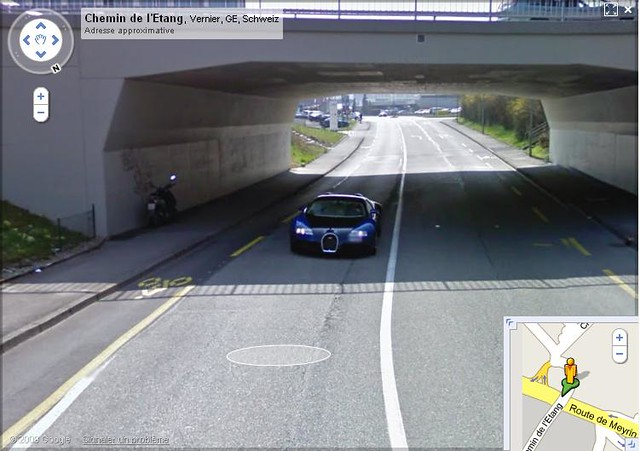 bugatti veyron 16 4 on google street view google street. Black Bedroom Furniture Sets. Home Design Ideas