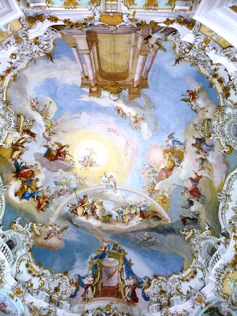Wieskirche White Church Ceiling Painting Of The Door T