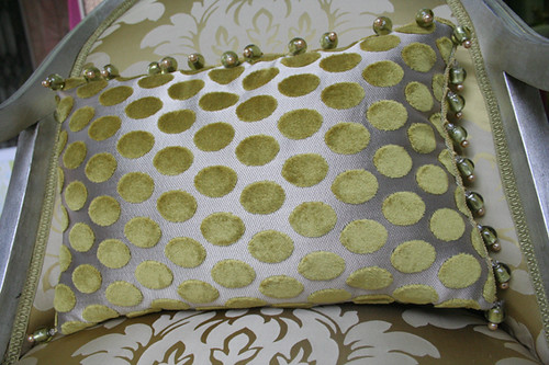 Cushion with romo fabric and murano beaded trimming by luc for Marcato arredamenti