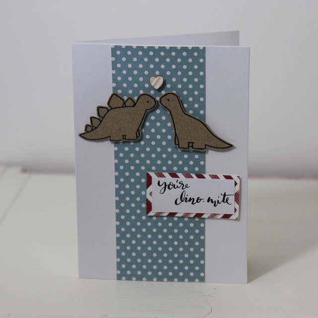 Birthday Dinos Valentine's Cards - Card 3 you're dino-mite - StickerKitten Birthday Dinos dinosaur stamp set