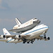 NASA 747 with space shuttle Discovery departing NFW