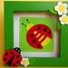 Ladybug Loves Daisies - Shadow Box - Felt Art
