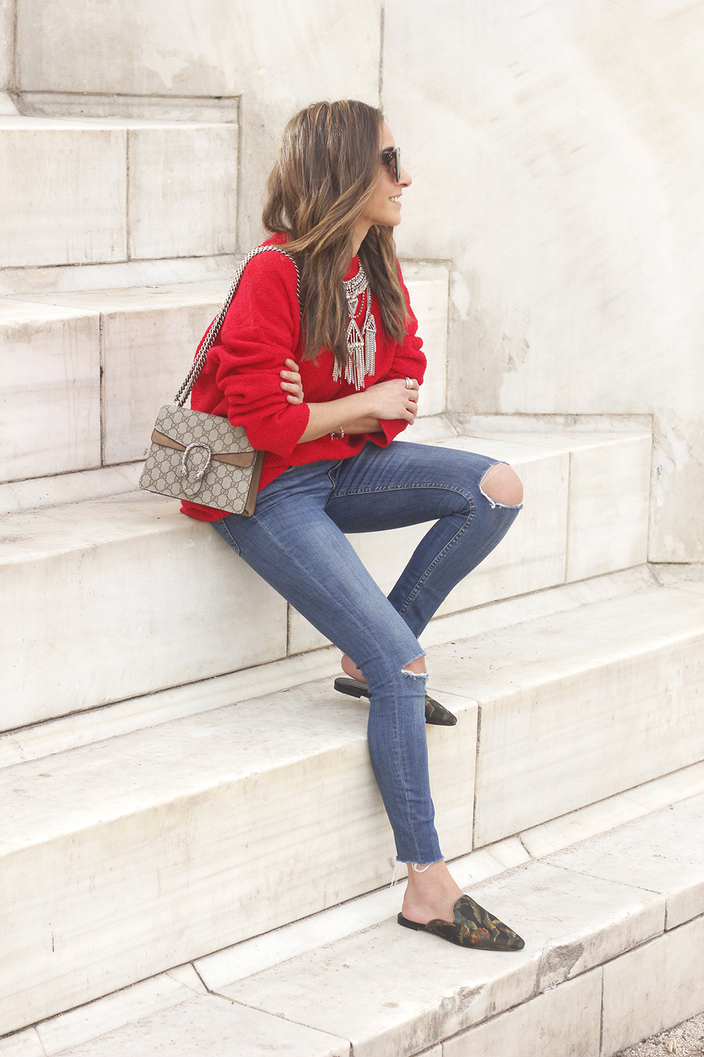 Mules Red sweater Ripped Jeans gucci bag céline sunnies fashion outfit style trend03