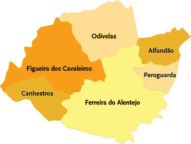 mapa ferreira do alentejo Concelho de Ferreira do Alentejo | Mapa das freguesias | Jorge  mapa ferreira do alentejo