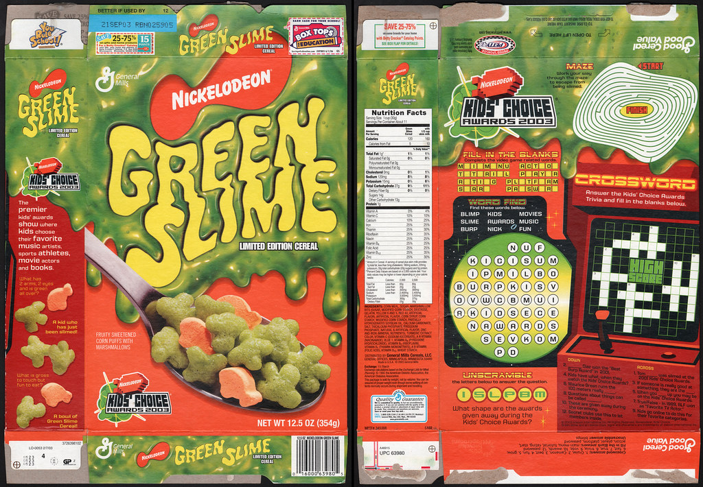 General mills nickelodeon green slime cereal box 2003 flickr general mills nickelodeon green slime cereal box 2003 by jasonliebig ccuart Image collections
