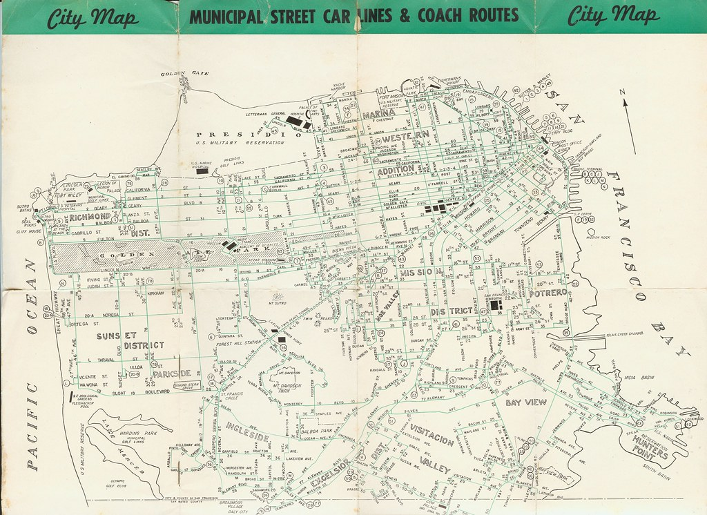 Tours of Discovery San Francisco Muni transit map 1950 Flickr