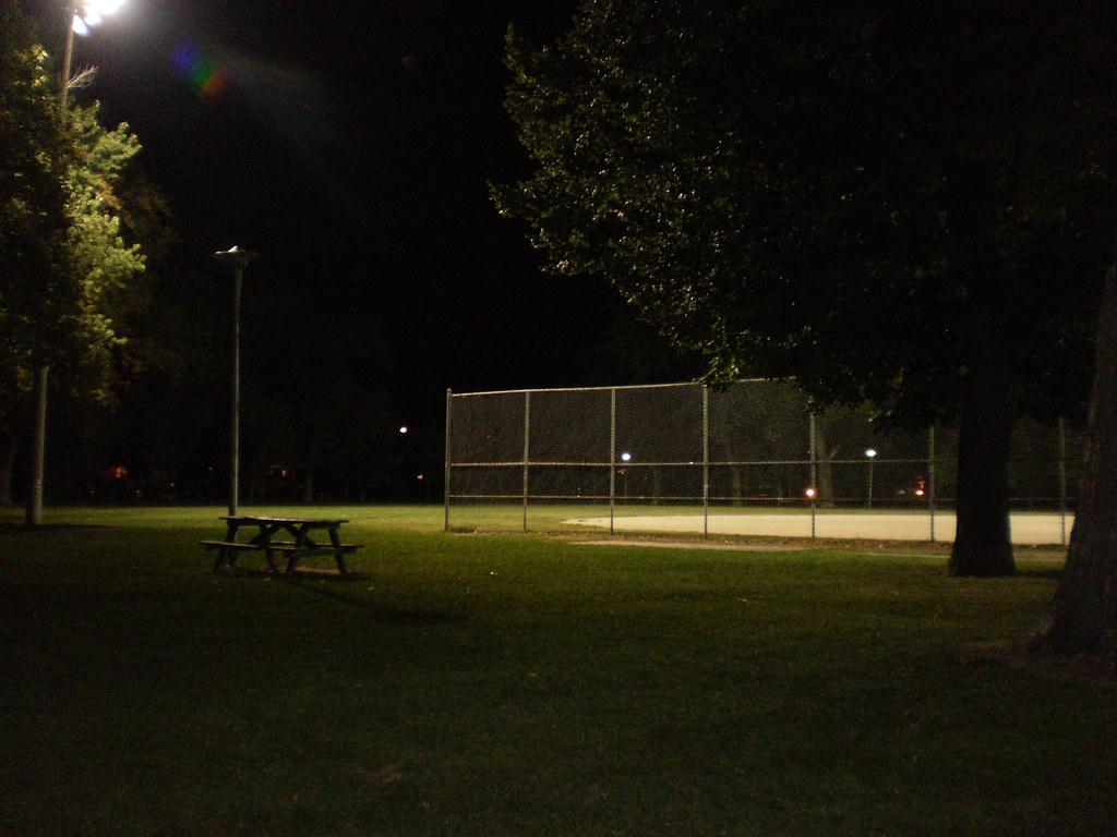 Baseball diamond at night