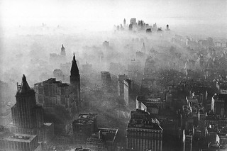 Midtown and Lower Manhattan covered in smog. 1966. New York | by wavz13