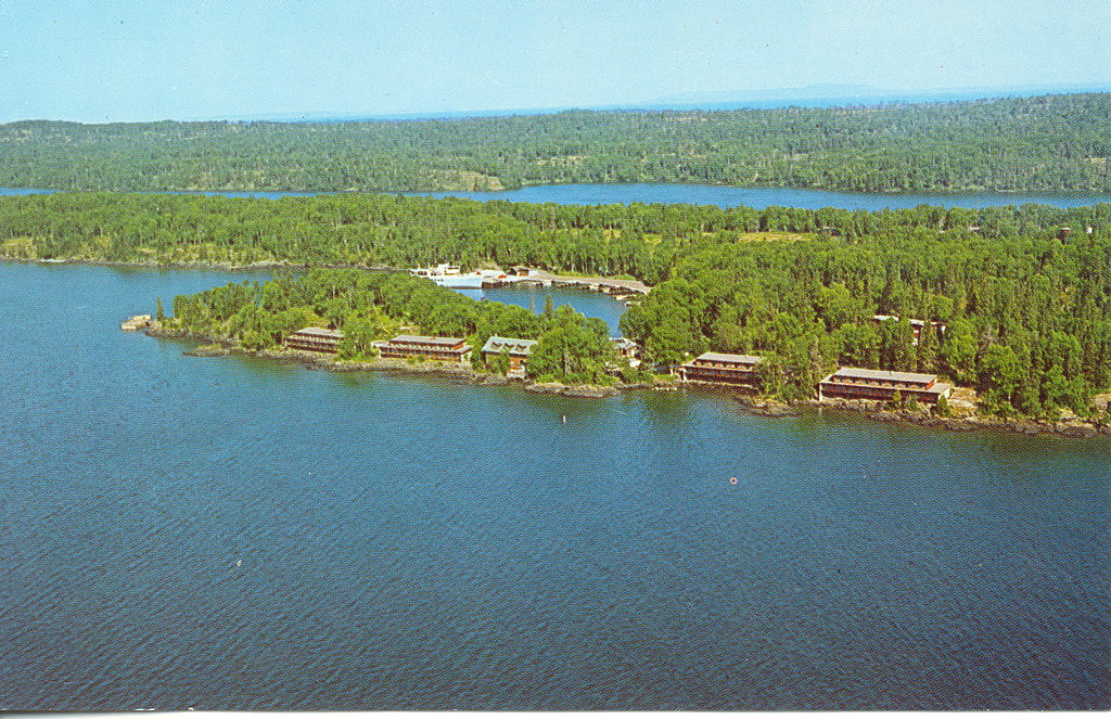 Isle Royale Mi Aerial View Rock Harbor Ferry And Ferry Doc