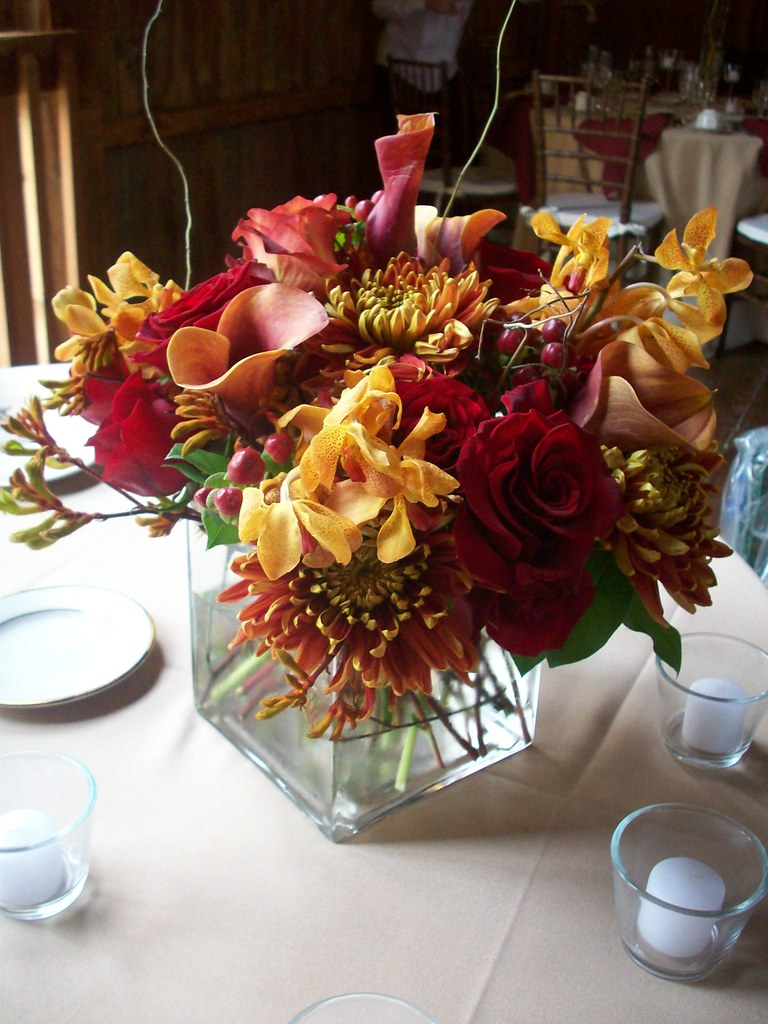 Fall Centerpiece Rose Mokara Orchid Kangaroo Paw Dahlia