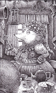 Auntie - An elderly Romany hedgehog has invited the hero for tea in her caravan. All the characters in this series are animals who appear in the guise of flamboyant fantasy characters. | by widdershins3