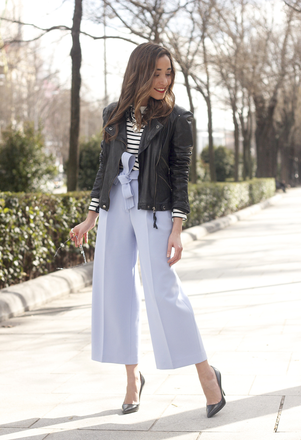 Light Blue Pallazzo pants t-shirt stripes black heels biker jacket dior so real sunglasses outfit style fashion05