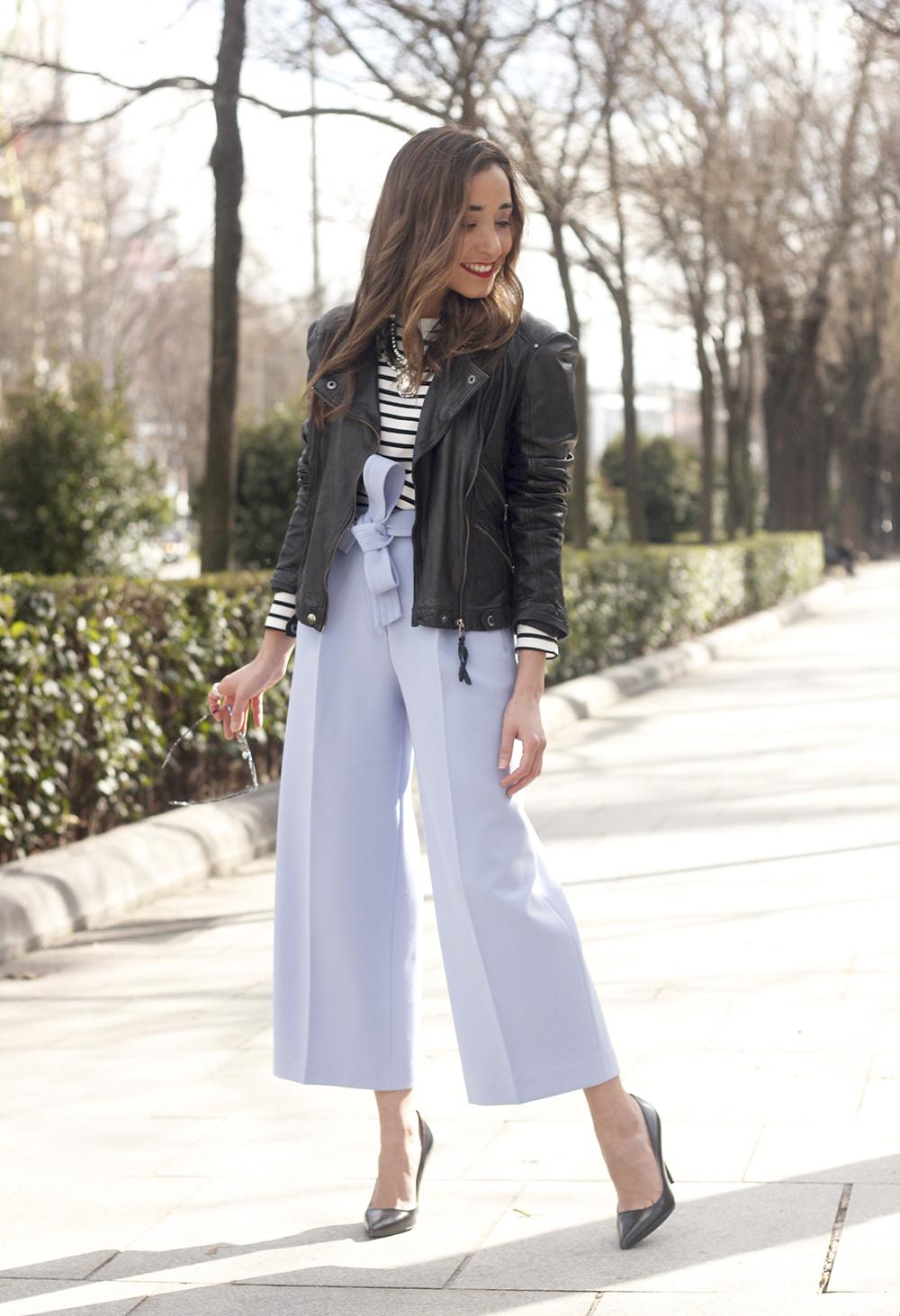 Light Blue Pallazzo pants t-shirt stripes black heels biker jacket dior so real sunglasses outfit style fashion05