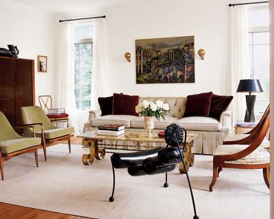 eclectic living room mid century danish modern english regency mix