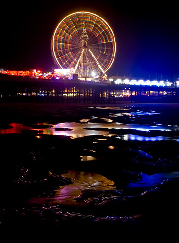 reflections, central pier big wheel at night with blackpool tower | by Dean_T