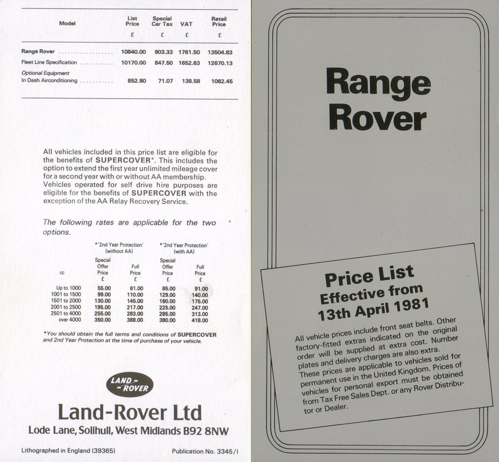 Land Rover & Range Rover - Brochures, Price Lists Etc