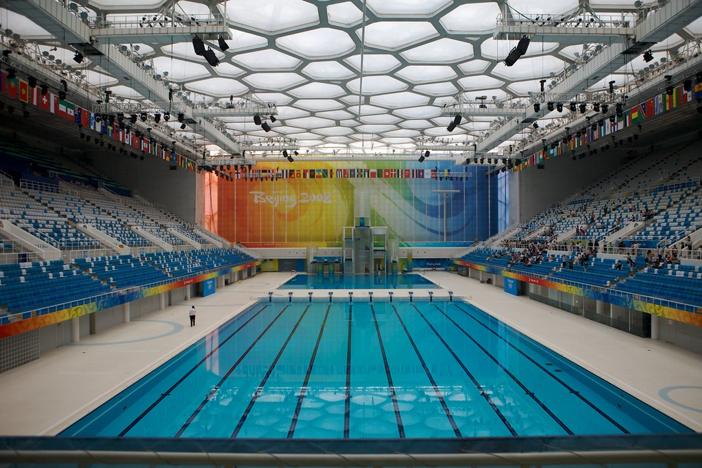 Olympic swimming pool the pool in the water cube where man flickr for Olympic swimming pool pictures