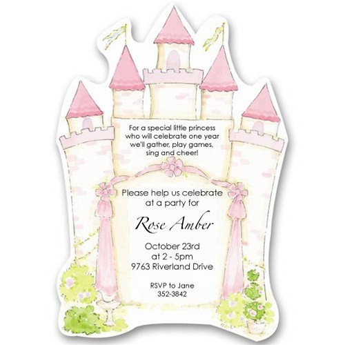 Pink Princess Castle Birthday Invitations