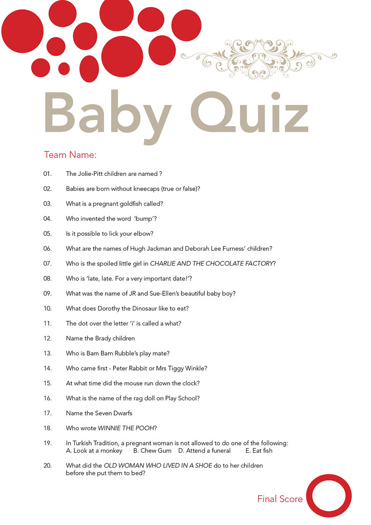 Baby Shower Quiz I got sick of looking for a fun baby