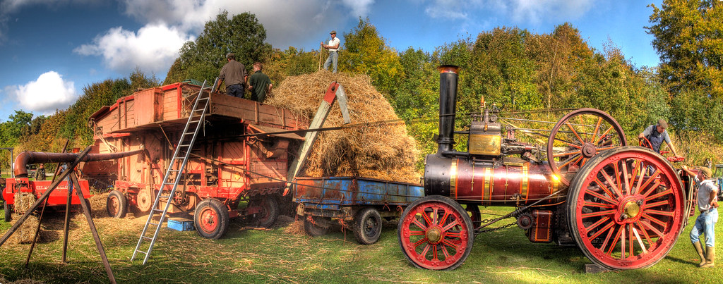 Threshing Machine Powered By A Steam Traction Engine At Th