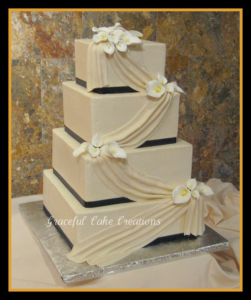 red and white square wedding cakes square ivory wedding cake with calla lilies grace tari 19094