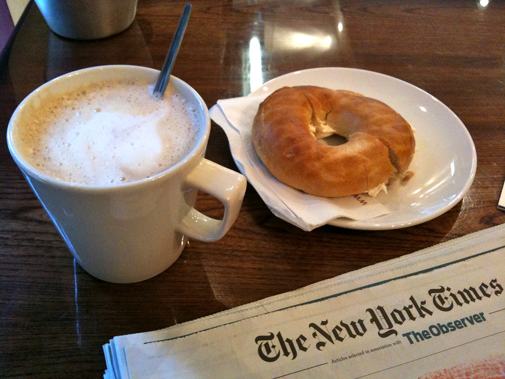 Image result for bagel and coffee