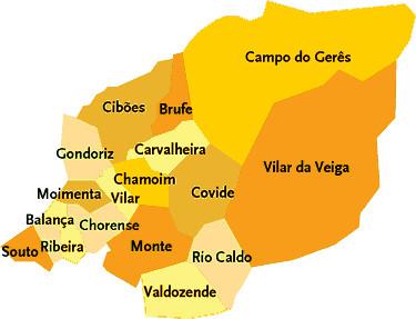 mapa de terras de bouro Concelho de Terras de Bouro | Mapa das freguesias | Jorge Bastos  mapa de terras de bouro