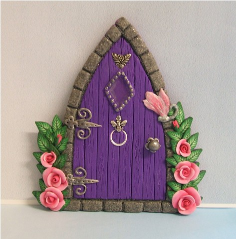 Purple gothic style fairy door with roses handmade in How to make a fairy door out of clay