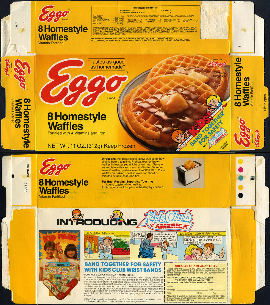 Eggo Homestyle Waffles Box Kids Club Of America Mail A